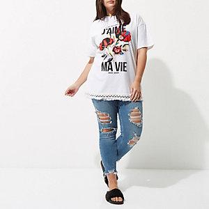 Plus – T-shirt boyfriend blanc «j'aime ma vie»