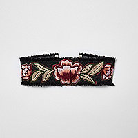 Black denim floral embroidered choker
