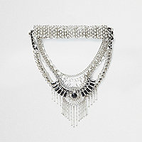 Silver tone multi row statement choker set