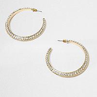 Gold tone rhinestone encrusted hoop earrings