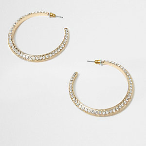 Gold tone rhinestone encrusted hoop earrings