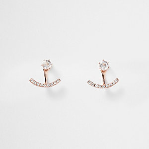Rose gold tone rhinestone curved studs
