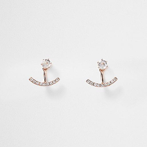 Rose gold tone diamante curved studs
