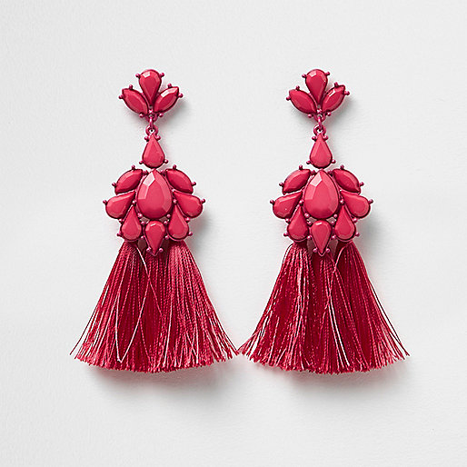 Pink jewel embellished tassel drop earrings