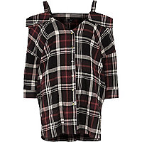 Red check cold shoulder shirt