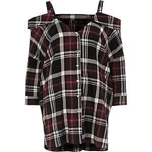 Chemise à épaules dénudées à carreaux rouge