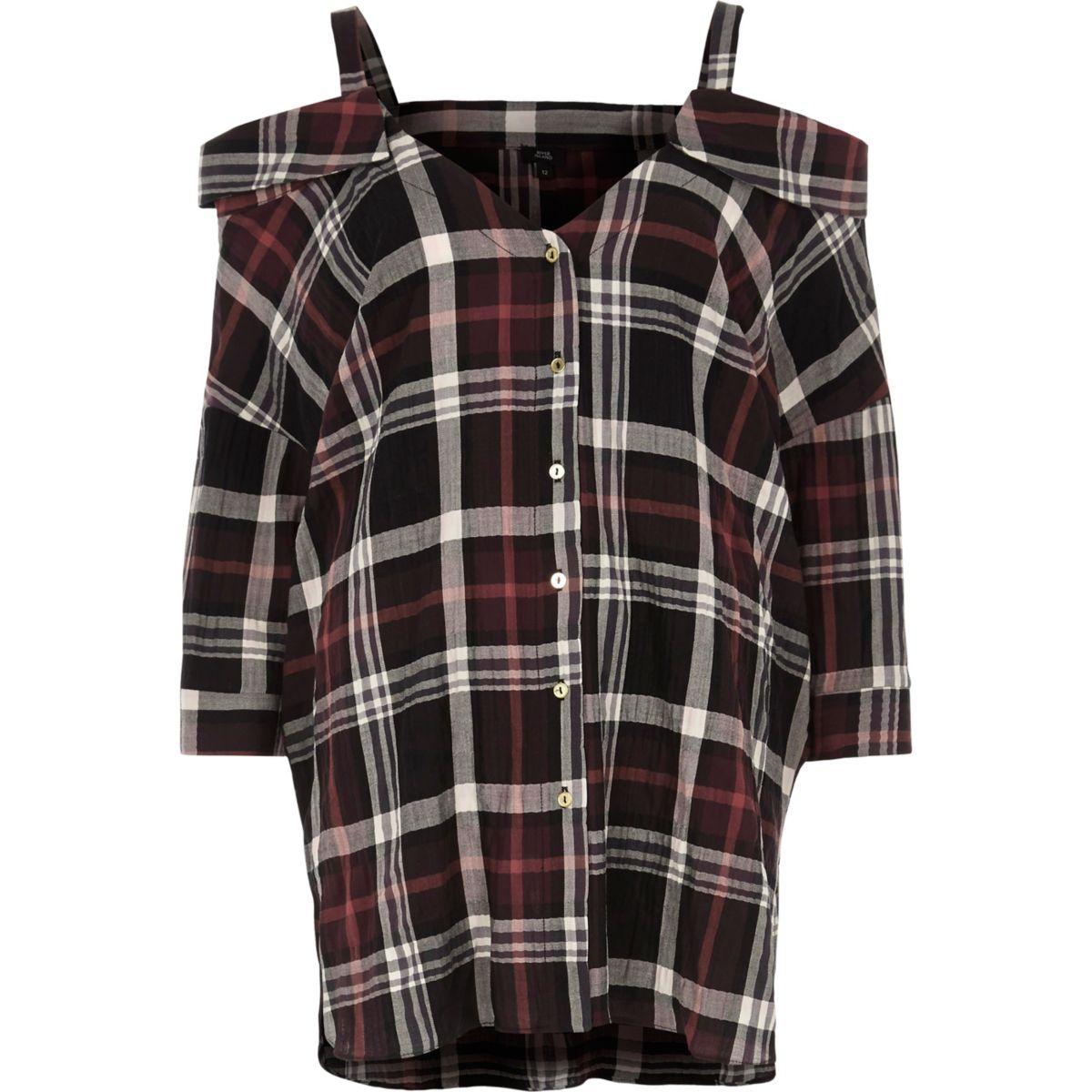 Red check cold shoulder shirt