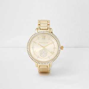 Gold tone rhinestone round face watch