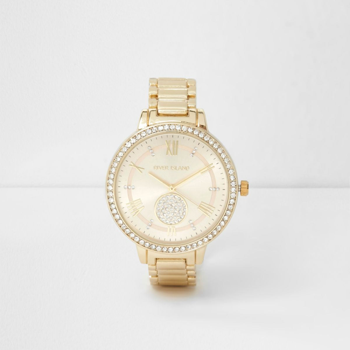 Gold tone diamante round face watch