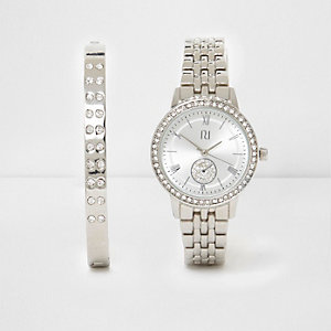 Silver tone watch and bracelet set