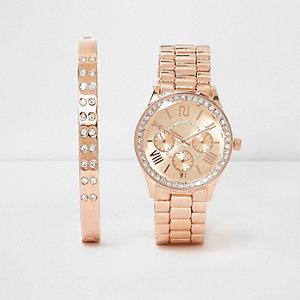Set mit Armbanduhr und Armband in Roségold