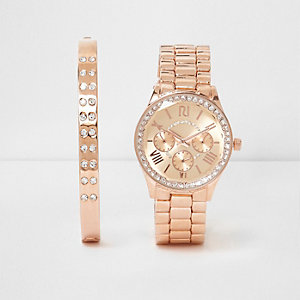 Rose gold tone watch and bracelet set