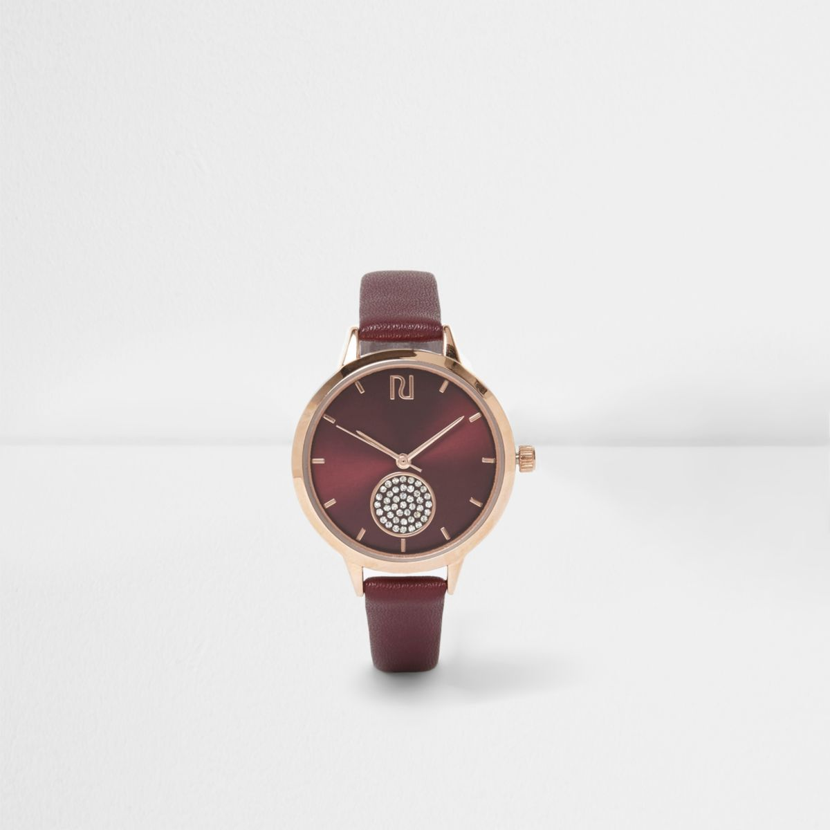 Red diamante pave round face watch