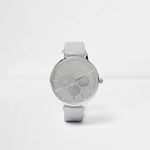 Silver tone metallic circle watch