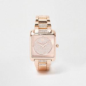 Roségoudkleurig horloge met vierkante wijzerplaat en siersteentjes