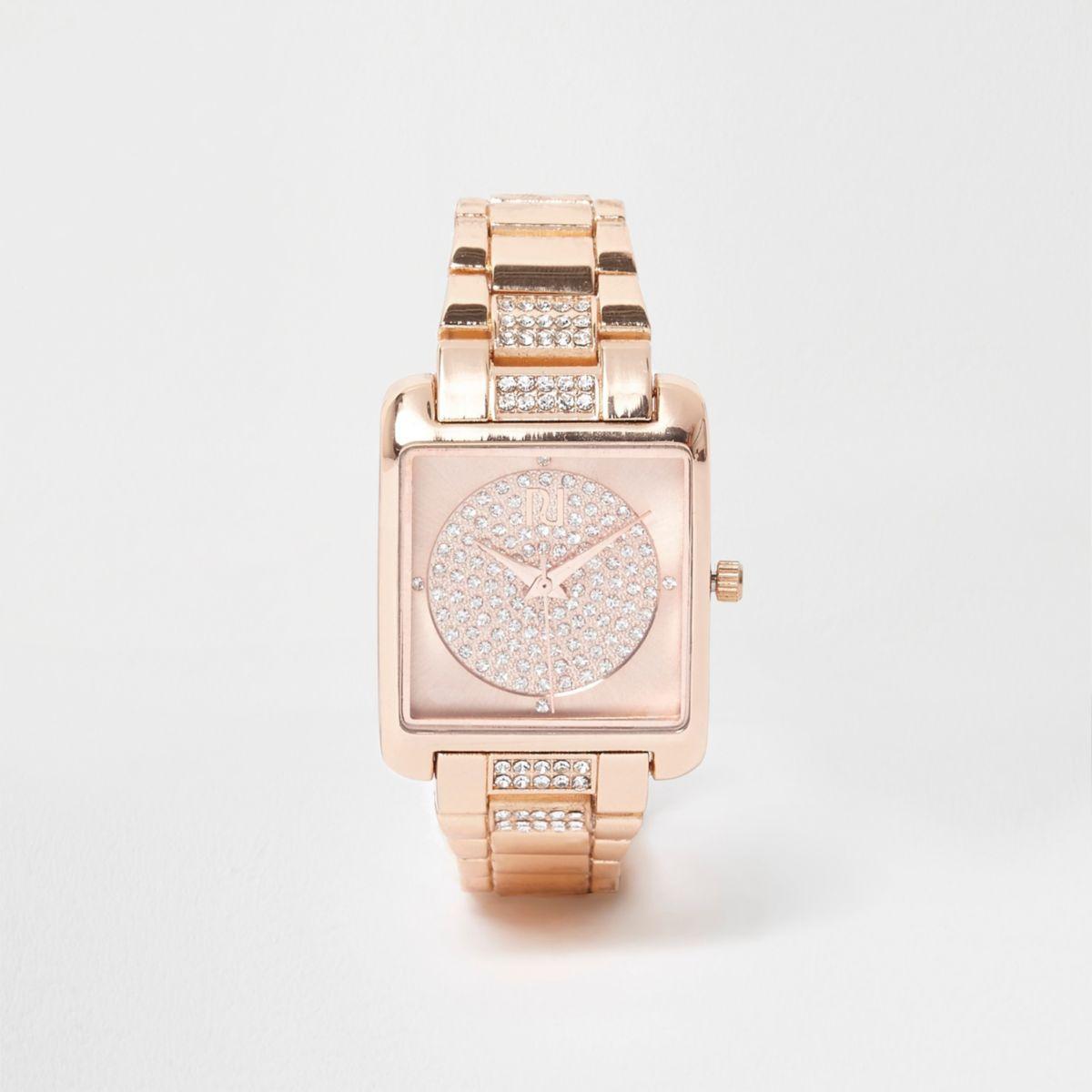 Rose gold tone square rhinestone watch