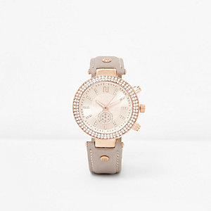 Light grey diamante watch