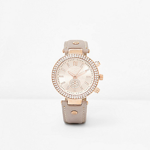 Light grey and rose gold tone rhinestone watch