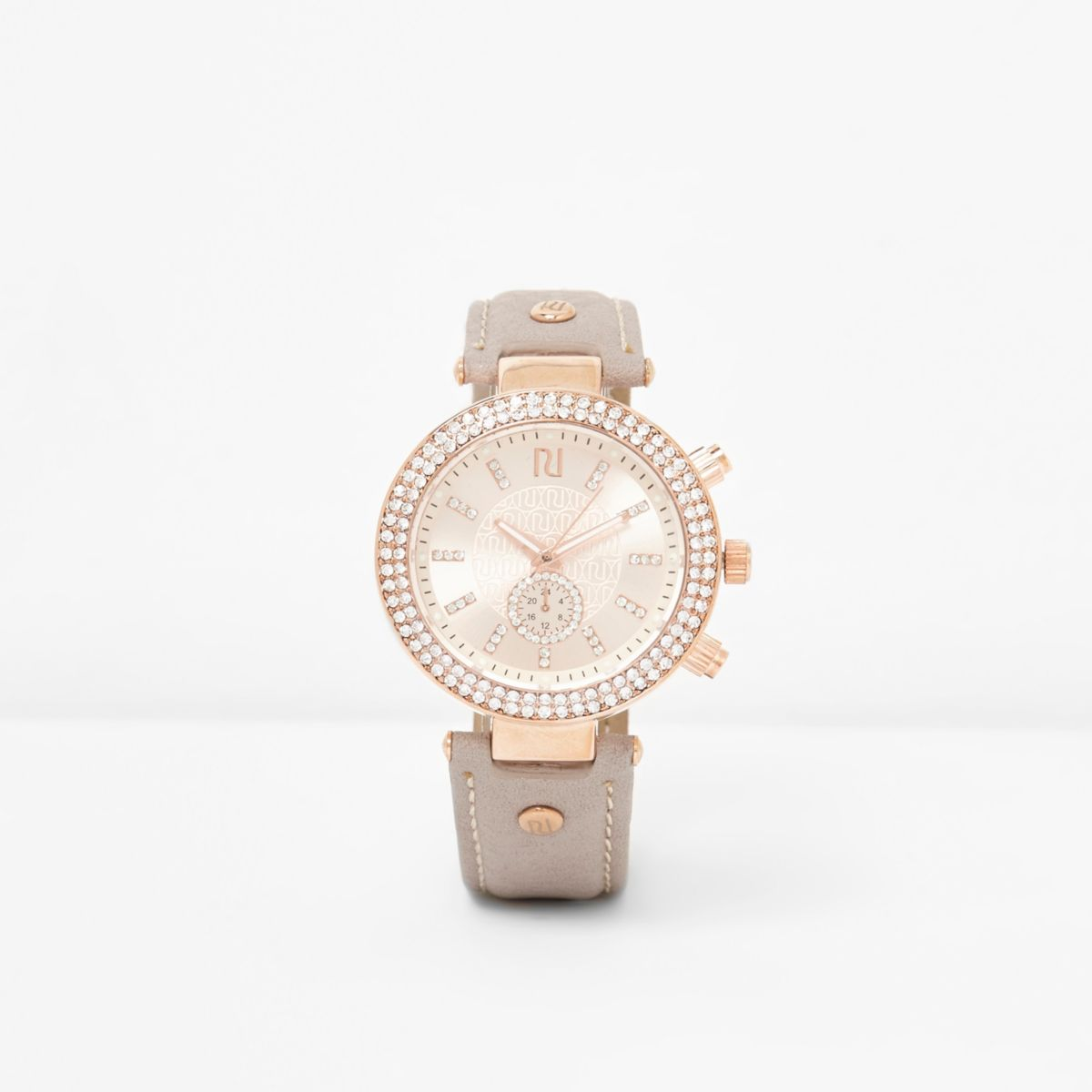 Light grey and rose gold tone rhinestone watch