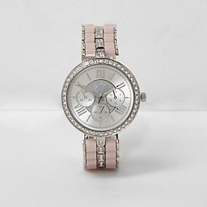 Zilverkleurig horloge met diamanten
