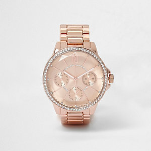 Rose gold tone round diamante watch