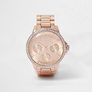 Rose gold tone round rhinestone watch