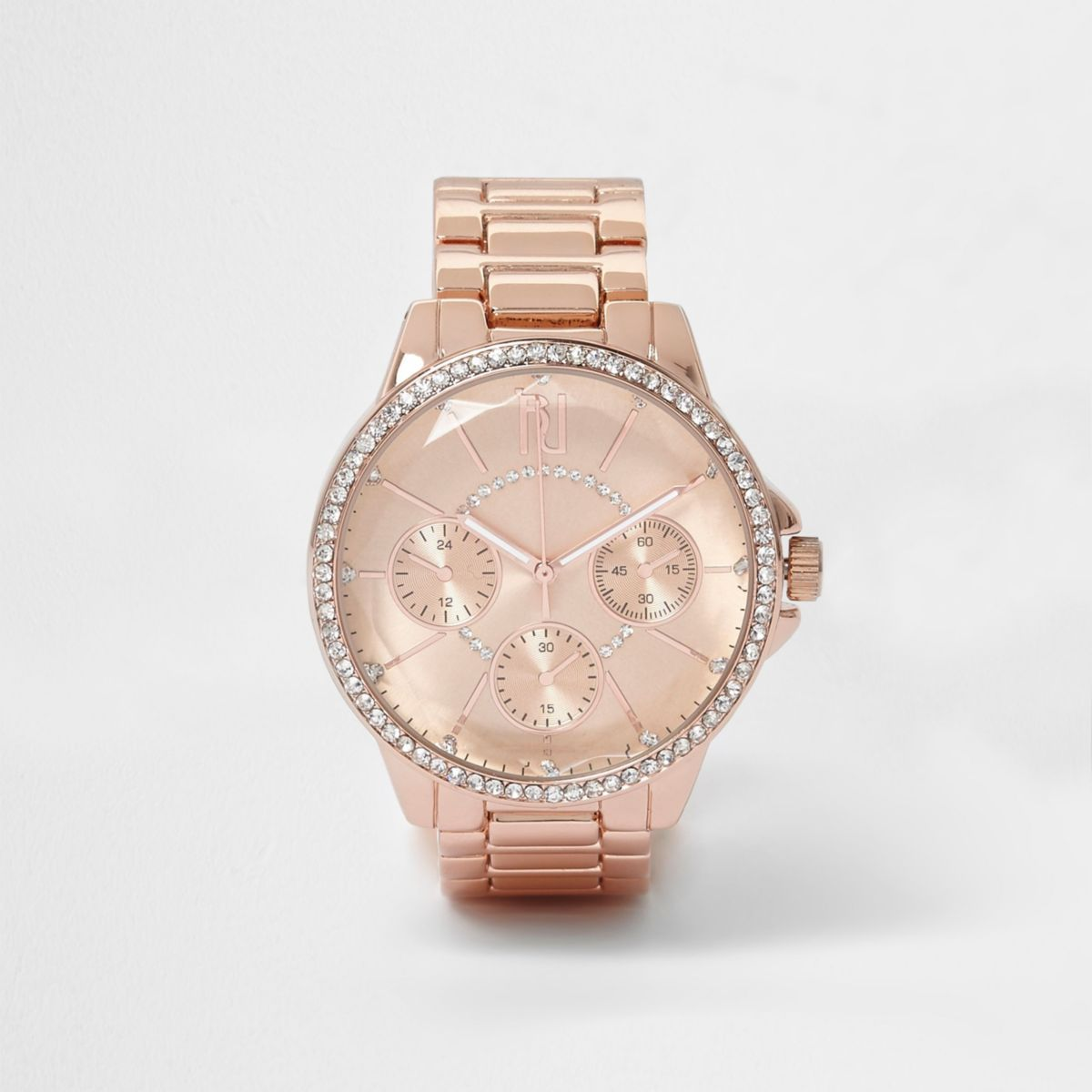 Rose gold tone round rhinestone watch