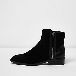 Black suede zip side ankle boots