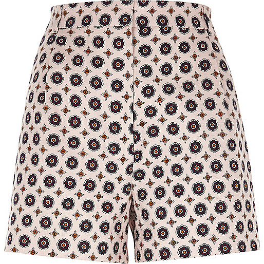 Pink geo print high waisted shorts