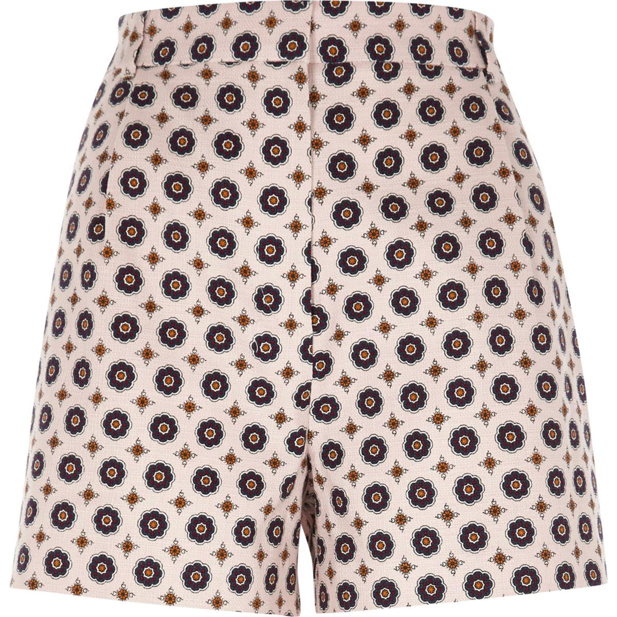 Pink geo print high waisted shorts