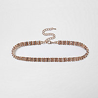 Plus rose gold tone diamante choker