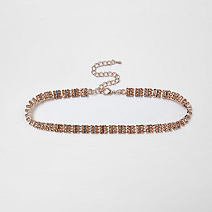 Plus – Collier ras-de-cou doré rose orné de strass