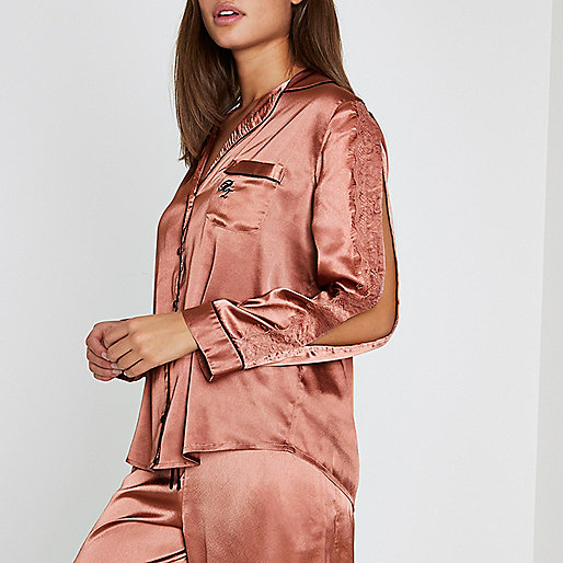 Pink satin split long sleeve pajama shirt