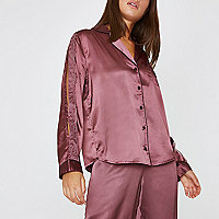 Dark red satin lace trim pyjama shirt