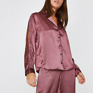Dark red satin lace trim pajama shirt