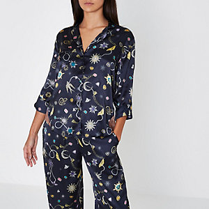 Navy jewel print satin pyjama shirt