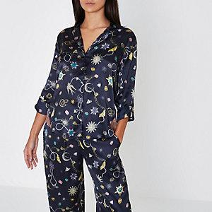 Chemise de pyjama en satin imprimé bijoux bleu marine