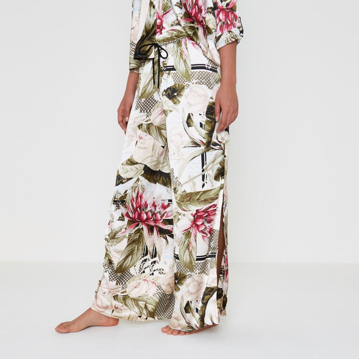 Pyjamahose in Creme aus Satin