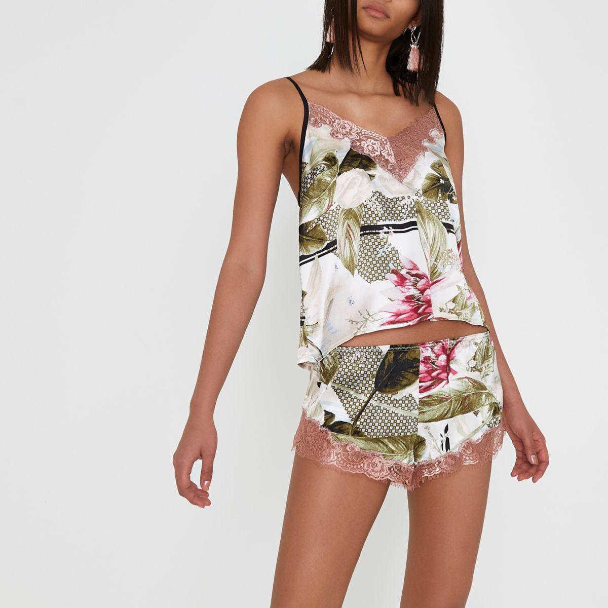 Pyjama-Shorts in Creme aus Satin