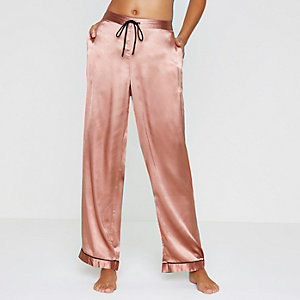 Pink satin pajama bottoms