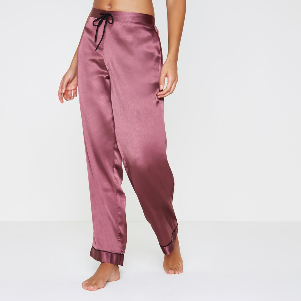 Dark red satin pajama bottoms