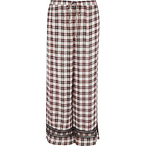 Red check lace trim pajama pants