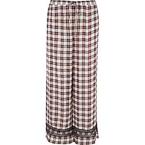 Pantalon de pyjama à carreaux rouge à bordure en dentelle