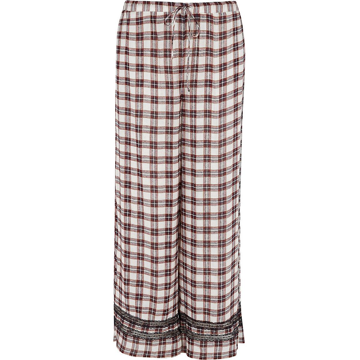 Red check lace trim pajama pants