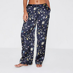 Navy blue jewel print pyjama trousers