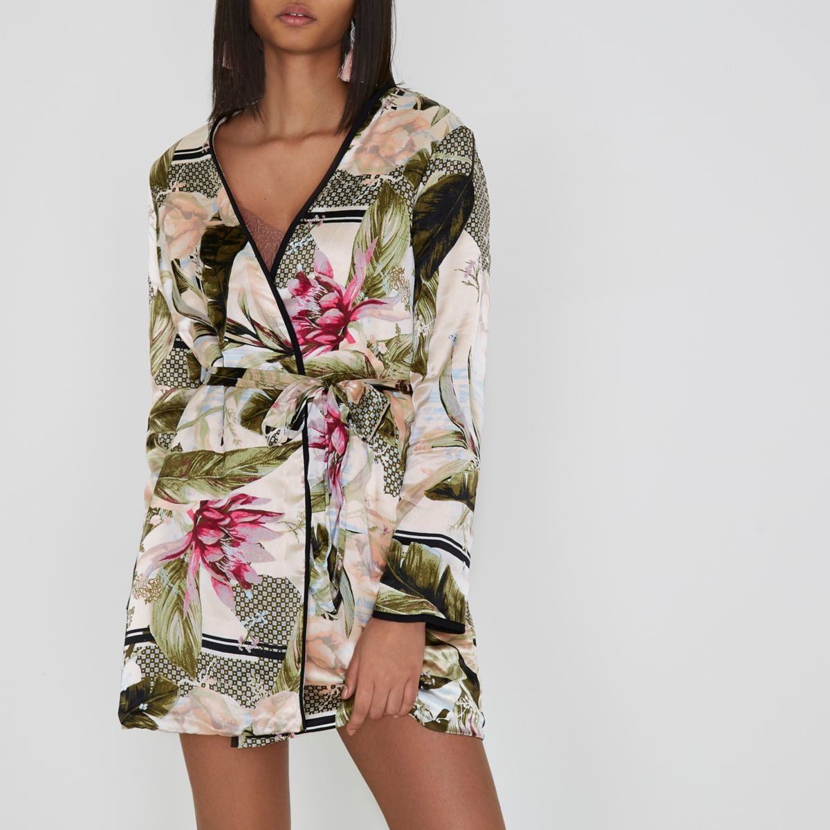 Cream tropical print borg lined tie robe