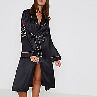 Black satin floral embroidered robe
