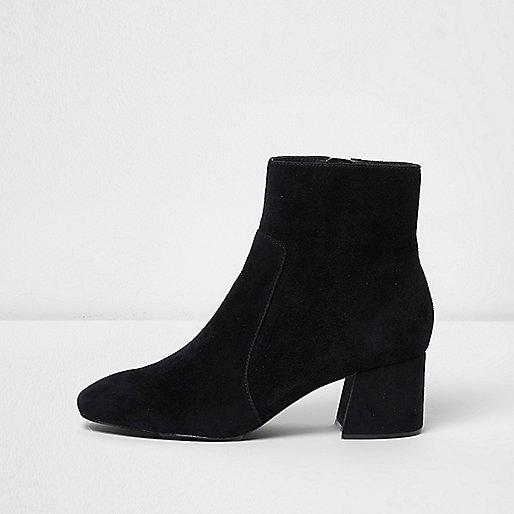 Black block heel suede ankle boots