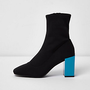 Black contrast blue block heel sock boots