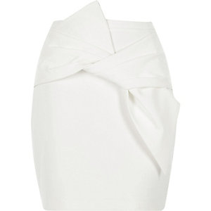 White bow front mini skirt